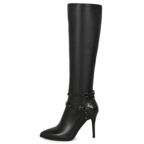 Lader Stiefel for Damen,MERUMOTE 2017 Winter Leather Heels Schuhe Kniehohe Stiefel Schwarz 41 EU (Mens Knee High Leder Stiefel)