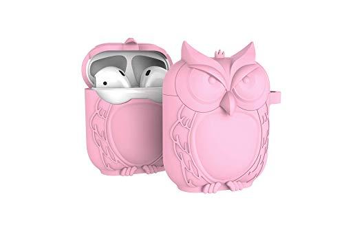 Sinoem AirPods Silikonhülle, Eule Airpods Schutz Hülle Tasche Silikon Schutzhülle Case Perfekte Passform,Kratzfest, Soft Skin Silikon-Schutz-Hülle für Apple AirPods Case Rosa(Case-Pink)