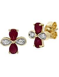 Gemondo 9ct Oro Amarillo Rubí Y Diamante Pendientes De Presión Con Racimo & 45cm Jewelry & Watches