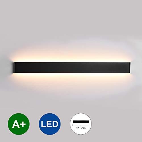 K-Bright lampada da parete, 35W,luce a specchio, 110cm, 4550 lumen,IP 44,nero, Bianco caldo