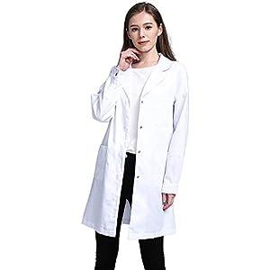 Icertag Kittel,Laborkittel, Arztkittel, Arztkittel für Frauen, Weißer Mantel für Damen, Geeignet für Studenten, Wissenschaftslabor, Krankenschwester, Cosplay, Baumwollkittel