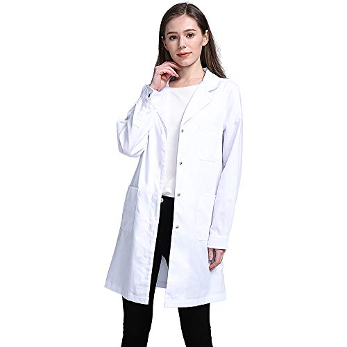 Frau Kostüm Weiße - Icertag Kittel,Laborkittel, Arztkittel für Frauen, Weißer Mantel für Damen, Geeignet für Studenten, Wissenschaftslabor, Krankenschwester, Cosplay, Baumwollkittel, Weiß, M
