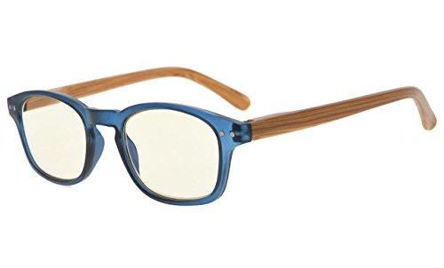 Eyekepper templos de aspecto de bambú gafas de lectura de protección UV, lectores antirreflectantes (Azul Marco, Amarillo Tenido lentes) +0.5