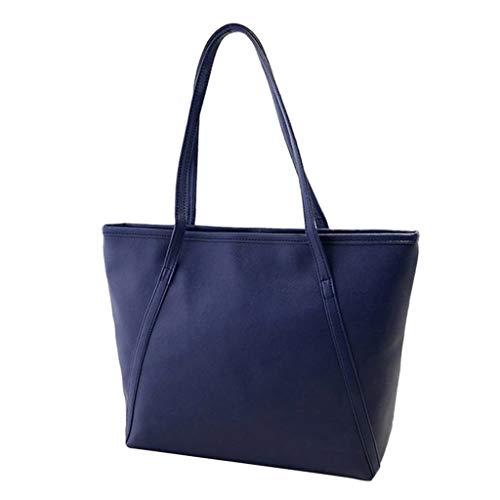 KIMODO Damen feste einfache hohe Kapazitäts Handtasche Kurier Henkeltasche Elegante Totes-Ranzen-Umhängetaschen (Dunkelblau)