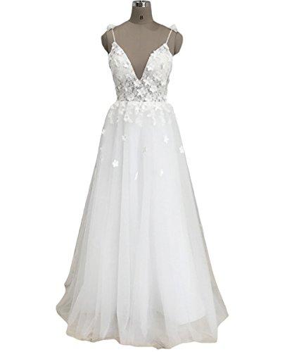 Lovelybride Romantisch Spaghetti-Träger V-Ausschnitt Brautkleider Spitze-Blume Hochzeitskleider