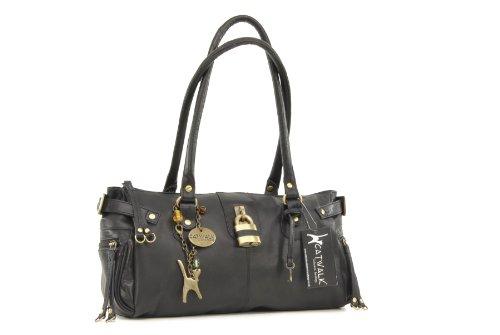 """Lederhandtasche """"Chancery"""" von Catwalk Collection - Größe: B: 34,25 H: 16 T: 9 cm Schwarz"""