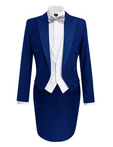 Formale Tuxedo Jacket (Lilis® Herrenmode 3 Stück schwarz Tuxedo Tails umfasst Frack Weste & Formale Hosen)