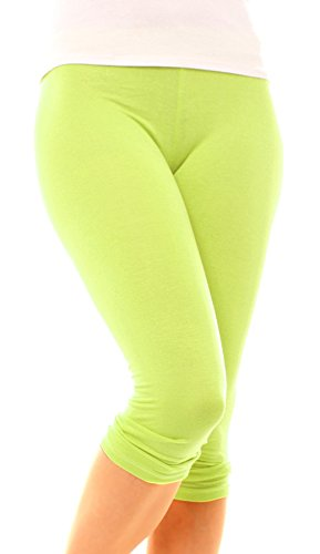 Easy Young Fashion Damen Legging Caprileggings 3/4 Bein Baumwolle uni One Size Lemon