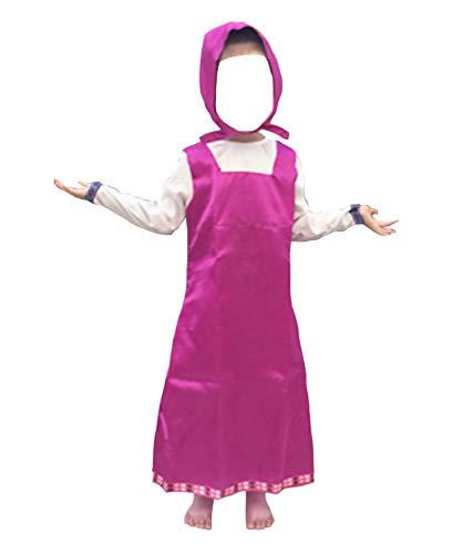 Versusmoda simile masha vestito carnevale bambina cosplay costume masha bear dress masha01 (m - lunghezza 83 cm)