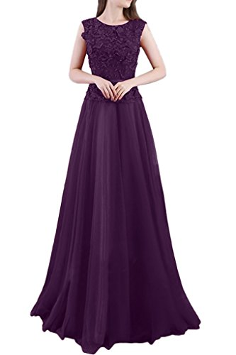Missdressy Romantisch Satin Lang Tuell Spitze Aermellos Reissverschluss Abendkleid Ballkleid Festkleid Partykleid Promkleid Grape