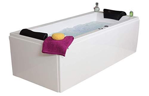 Whirlpool Badewanne Relax Basic MADE IN GERMANY 180 / 190 / 200 x 80 / 90 cm mit 16 Massage Düsen + Unterwasser LED Beleuchtung / Licht + Balboa + OHNE Armaturen -
