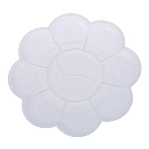 TOOGOO(R) 2 pcs en plastique blanc en forme de fleurs en aquarelle plateau de peinture Palette de peinture plateau de melange