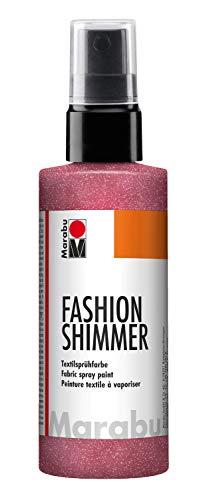 Marabu 17180050531 - Fashion Shimmer, Textilsprühfarbe auf Wasserbasis, für dunkle Textilien, einfache Fixierung, waschbeständig bis 40°C, geeignet zum Schablonieren, 100 ml, schimmer rot