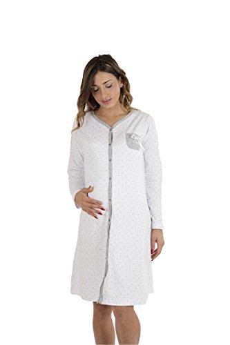 Premamy - camicia clinica per premaman, modello aperto davanti, cotone bielastico, pre-post parto - grigio - v (l)