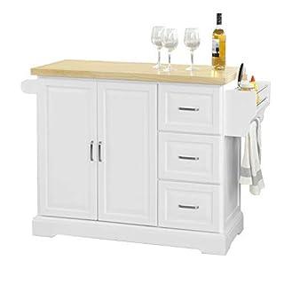 SoBuy FKW41-WN, Extendable Kitchen Cabinet Cupboard Sideboard, Kitchen Island, Kitchen Storage Trolley Cart