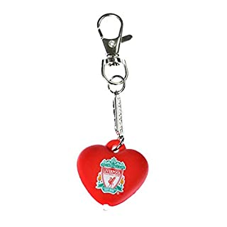 Liverpool FC Heart Keyring Bag Charm With Light Torch Crest Badge LFC Official