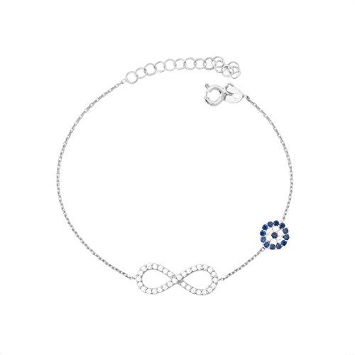 Remi Bijou 925 Sterling Silber Armband Armkette - Infinity Ewige Liebe Sonsuzluk Türkisches Auge Nazar Boncuk Evil Eye romantisch