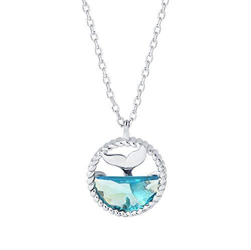 925 Silber Meerjungfrau Träne Schlüsselbein Halskette Sen Mode Kreative Marine Kristall Meerjungfrau Schaum Set Kette -