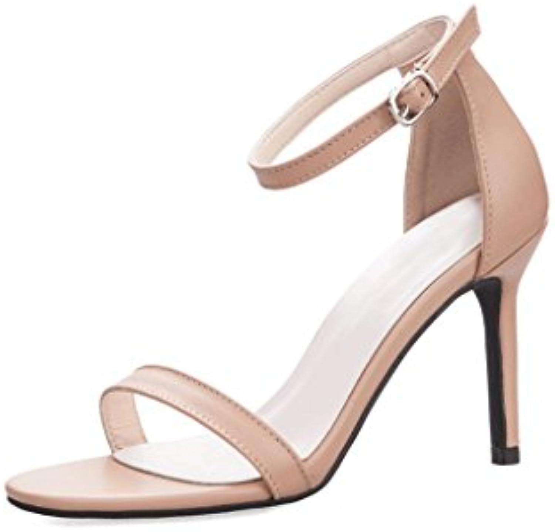 DONGLU Damen Heels Sommer Sandalen Zehenloch Sexy Damenschuhe Schwarz High Heels
