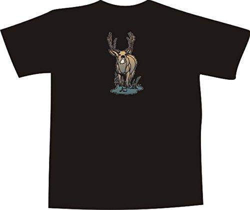 ... Comic Design - schöner großer Hirsch im Wald Schwarz. T-Shirt E808  Schönes T-Shirt mit farbigem Brustaufdruck - Logo / Grafik -