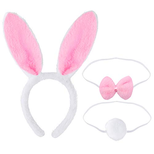 LUOEM Bunny Kostüm-Set mit Haarreif Fliege Schwanz für Kinder Erwachsene Party Cosplay Weihnachten Kostüm 3 Stücke (Weiß - Weißen Bunny Kostüm