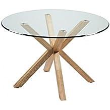 Camino a Casa–Mesa de comedor bandeja redonda (120cm cristal y madera Idol