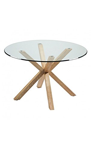CAMINO A CASA - Table à Manger Plateau Rond 120 cm Verre Bois Idol