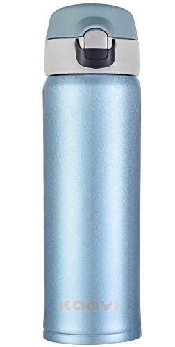 Flip Jordan Farbe (Kooyi Vakuum Isolierbecher aus Edelstahl, Kaffeebecher Reisebecher 450 ml, Koffee to go Becher, einhändig zu öffnen und Trinken, 100% auslaufsicher BPA frei (Blau))