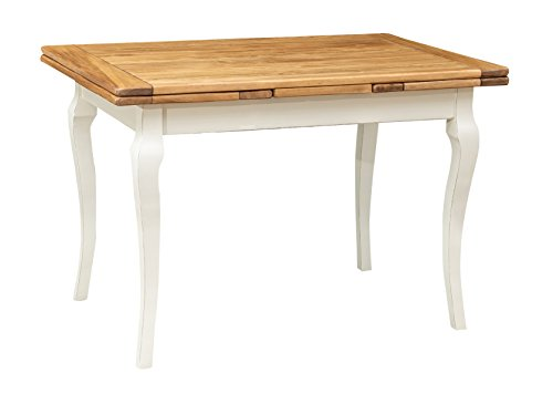 Table de style Country extensible en bois massif de tilleul châssis blanche vieillie sur surface naturelle aux dimensions L120xPR80xH80 cm