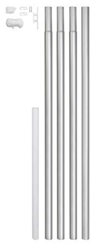 GAH-Alberts 639693 Fahnenmast - zylindrische Form, zum Einbetonieren, Aluminium, blank, Gesamthöhe: 6200 mm, Rohr-Ø: 50 mm