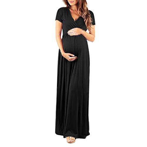LSAltd Frauen Casual Schwangerschaft Kleid Damen v-Ausschnitt Kurzarm Mutterschaft Kleid Mutter Solide Pflege Sommerkleid Kleidung Plus Größe S-XL