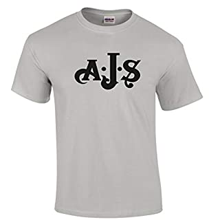 Retro Vintage AJS Motorcycle Logo Premium Quality T-Shirt Sizes Small to 5XL Long Lasting DTG Digital Print. Premium Quality T-Shirt Sizes Small to 5XL (Grey, X-Large)