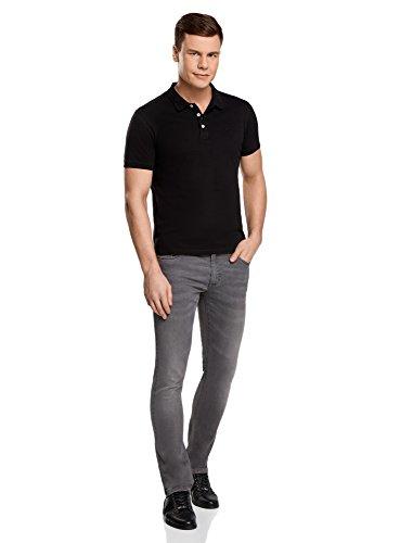 oodji Ultra Herren Pique-Poloshirt Basic Schwarz (2900N)