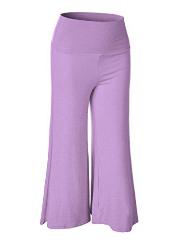 Smile YKK Pantalon Droit Femme Jambe Large Taille Haute Soirée Bal Danse Casual Eté Lâche Mode Lilas