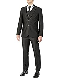 Abito da sposo completo uomo FB CLASS sartoriale nero gessato nuovo vestito  gilet e cravatta eec93ba8ec6
