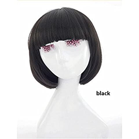 XQXHair Breve Bobo Capelli lisci con Bang frange laterali Synsetic merletto della parte anteriore della parrucca di Cosplay di calore parrucche resistente Cap , black