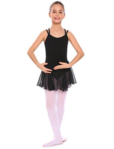 lettkleid Ballettbody Balletttrikot mit Chiffonrock Spaghetti-Träger Ballettanzug (Tanzsport Kostüm Muster)