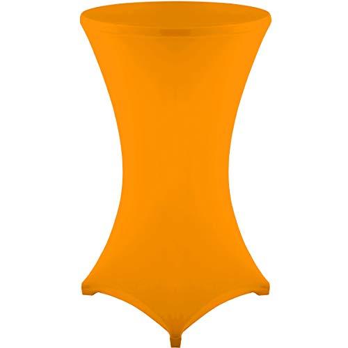 Gräfenstayn® Stretch Stehtischhusse Diana mit Öko-Tex Siegel, Verstärkung im Fußbereich, 40°C Maschinenwäsche in vielen Farben und Größen Ø60-65cm / Ø70-75cm / Ø80-85cm (Orange, Ø60-65cm)