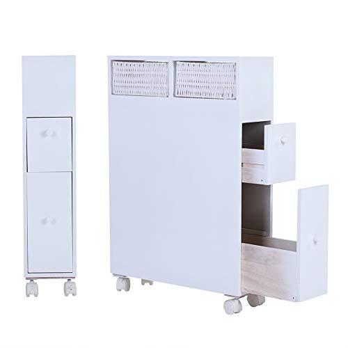 Mobiletto bagno, mobiletto salvaspazio contenitore di immagazzinaggio del cassetto del gabinetto di stoccaggio dell'armadietto del pavimento del legno con ruote bianco 19,69 x 6,30 x 28,54 pollici