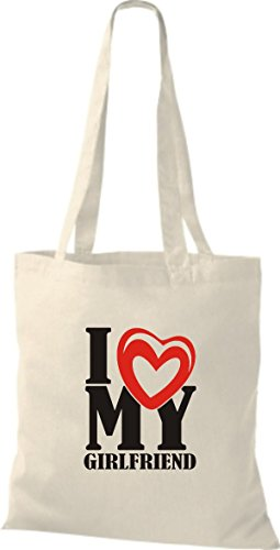 ShirtInStyle Shopper Valentinstag I Love My Girlfriend natur