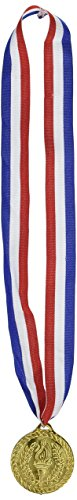 Gold Medal w/Ribbon Party Accessory (1 Count) (1/Pkg) (Kostüm Zubehör)