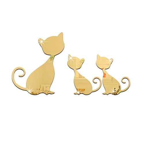 Vosarea Cartoon Acryl Spiegel Wand Aufkleber 3D Katze Wandaufkleber Haus Dekoration