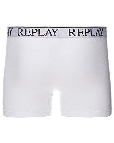 Replay Herren Boxer Shorts, 2er Pack, TM606 .000.N001 Weiß (White/Black)