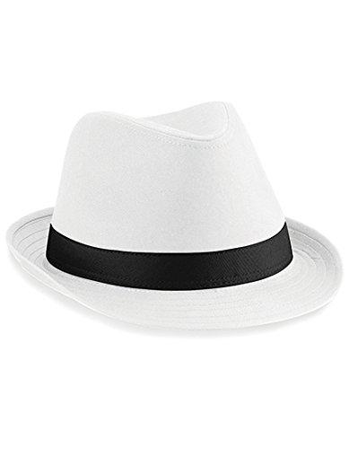 Beechfield Unisex Hut Fedora (S/M) (Weiß/Schwarz) Small / Medium,Weiß/Schwarz