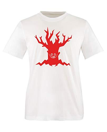 Comedy Shirts - Boeser Baum - Halloween - Mädchen T-Shirt - Weiss/Rot Gr. 110-116