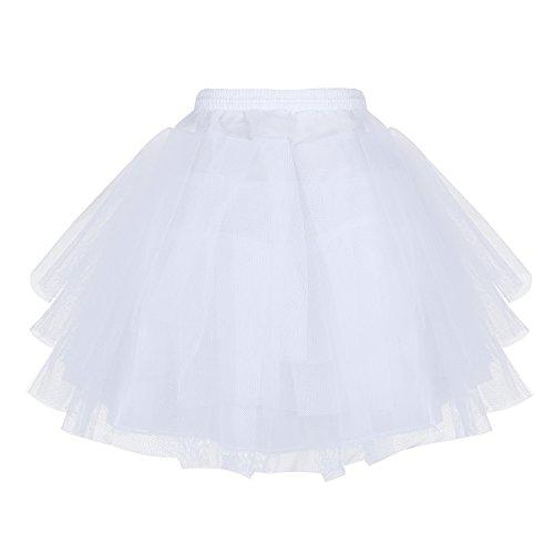 TiaoBug Mädchen 50er Jahre Kleid Vintage Retro Petticoat Reifrock Unterrock Petticoat Kinder...