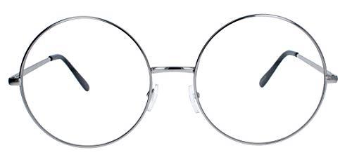 Große runde Fashion Brille Nerdbrille im Blogger Style Klarglas LR63 (Silber)