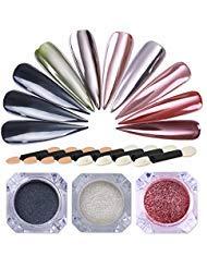 NICOLE DIARY 3 Scatole Chrome Shining Glitter effetto specchio per unghie in polvere Magic Nail Art Pigmento Dust manicure decorazione con 8 pezzi Eyeshadow Makeup Stick in spugna Pennello