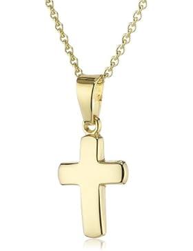 Xaana Kinder und Jugendliche-Anhänger 8 Karat 333 Gelbgold Kreuz glanz + vergoldete 925 Silberkette 36-38 cm AMZ0148