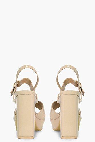 Damen Nackt Gabriella Plateau-sandalen Mit Absatz Und Überkreuzten Riemchen Nackt